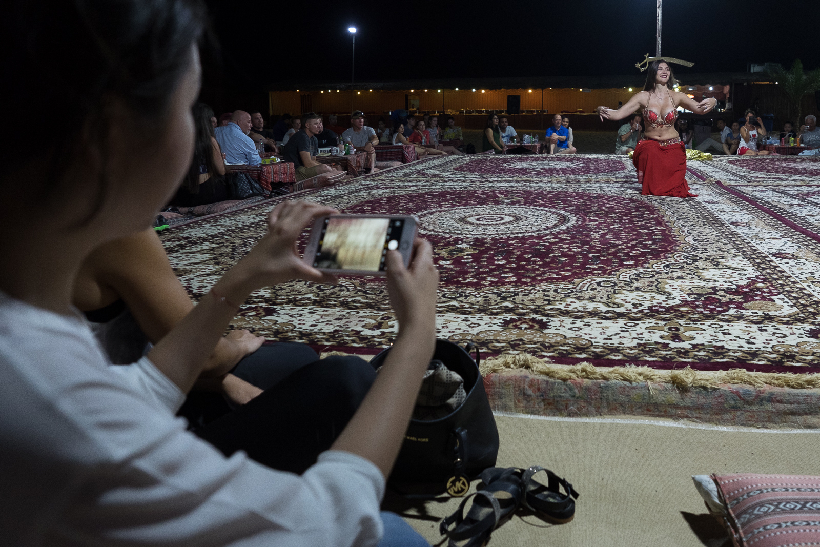 A belly dancer at a desert camp outside Abu Dhabi