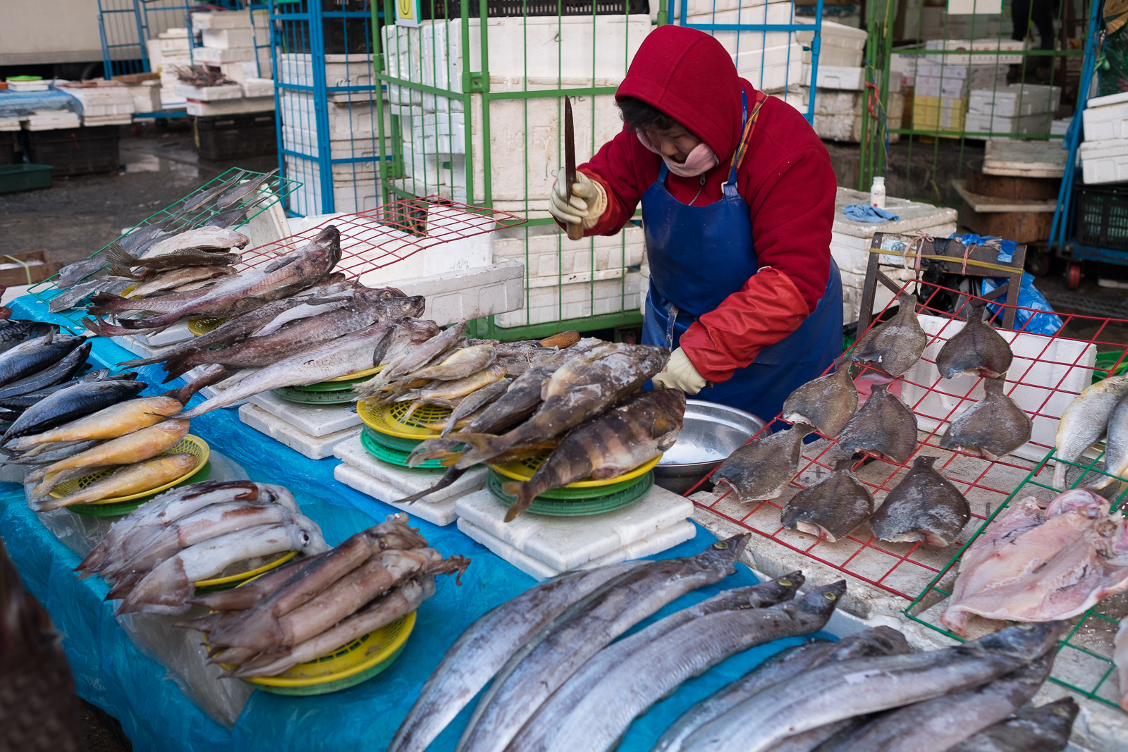 A fish seller in the Garak market